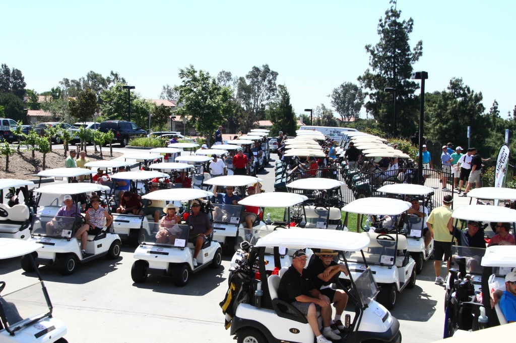 Golf carts get ready to go